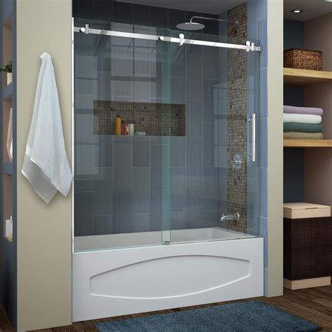 bathtub with shower doors shop dreamline enigma air 60 in w x 62 in h frameless