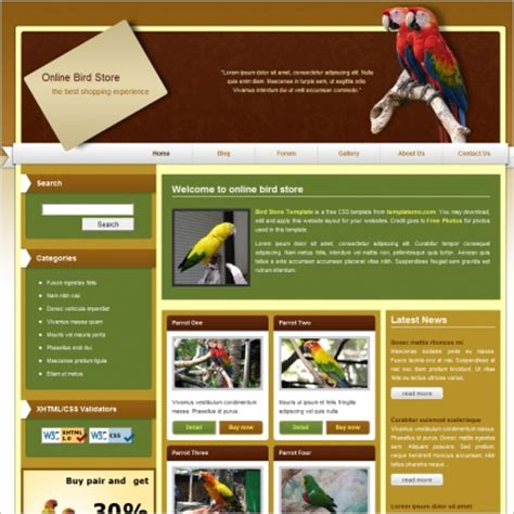 store html template free bird store free website templates in css html js format