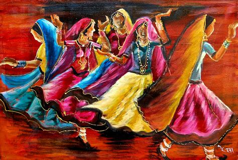 Indian Home Decor Online by Indian Folk Dance Painting By Rekha Rai