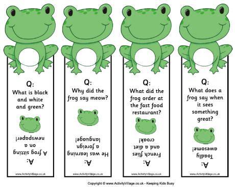 printable joke bookmarks frog joke bookmarks