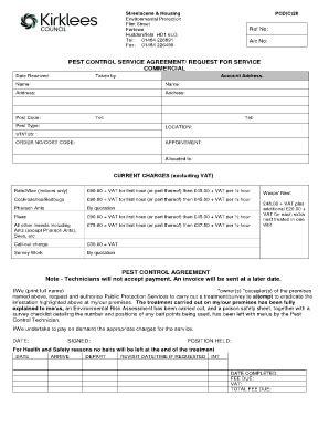 Pest Control Quotation Format Fill Online Printable Fillable Blank Pdffiller Pest Bid Template