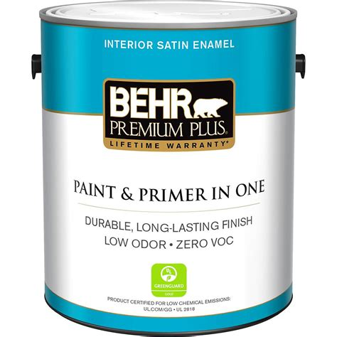 home depot paint no voc behr premium plus 1 gal medium base satin enamel zero voc