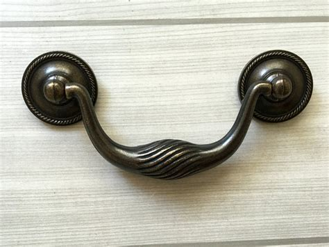 4 inch drop bail drawer pulls 4 quot vintage style drop bail dresser pull drawer handle dark