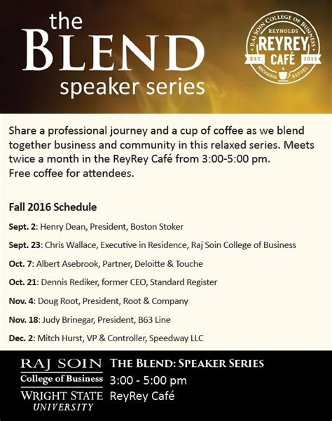 Wright State Mba Start Date by The Blend Speaker Series Wright State