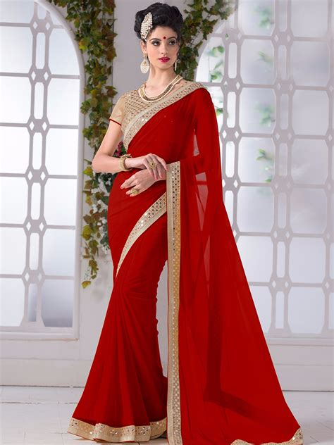 designer pics red chiffon plain festive wear saree wedding saree trend