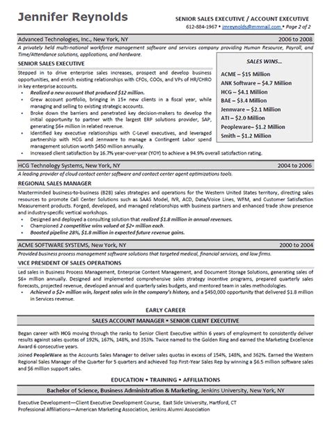 Sle Professional Resume Executive Enterprise Sales Executive Resume Exle