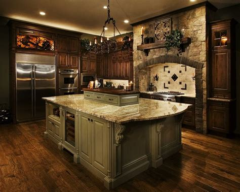 tuscan kitchen lighting dark cabinets light island cabinets old world tuscan
