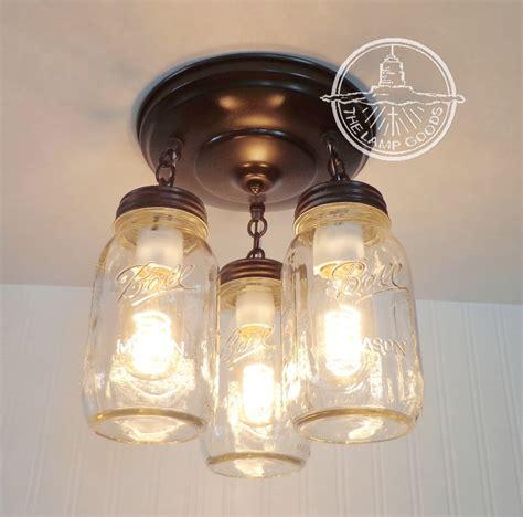 ceiling fan with jar lights mason jar light new quart trio flush mount ceiling fan