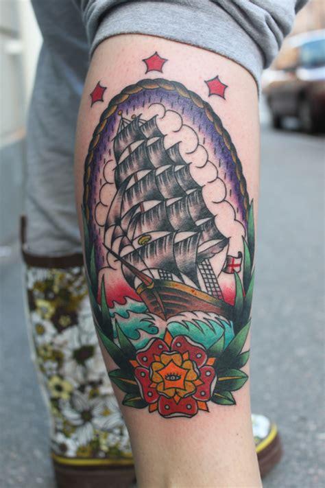 old school ship tattoo designs ship a hoy electric school tattoos
