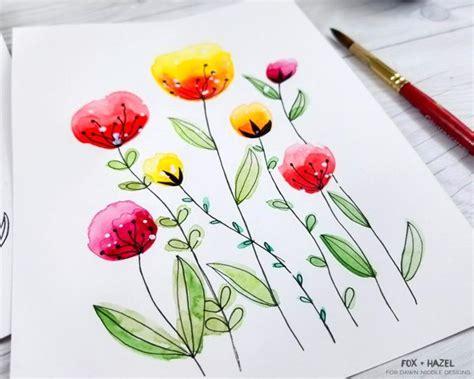 easy watercolor flowers step  step tutorial dawn nicole