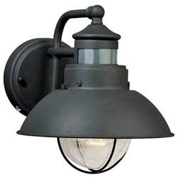 Outdoor Motion Lights Vaxcel Lighting T0126 Harwich Outdoor Motion Sensor Wall Light Textured Gray Industrial