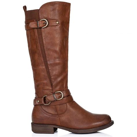 buy struck flat wide calf knee high biker boots