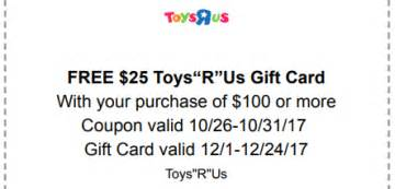 Toys R Us Gift Card Deals - toys r us free 25 gift card w 100 purchase ftm