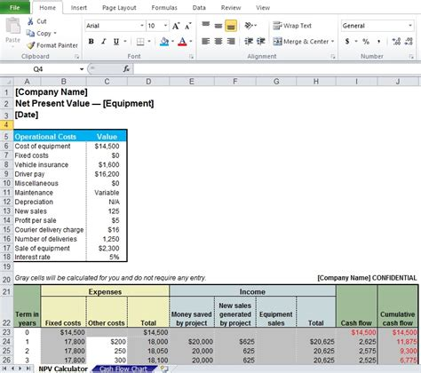 npv excel template professional net present value calculator excel template