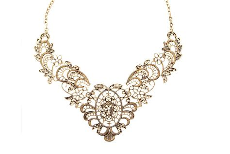 old pattern gold necklace gold filigree statement necklace golden bib by