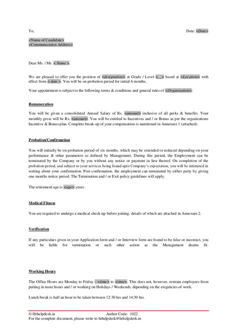 appointment letter format probation period letter of employment probationary period platinum class
