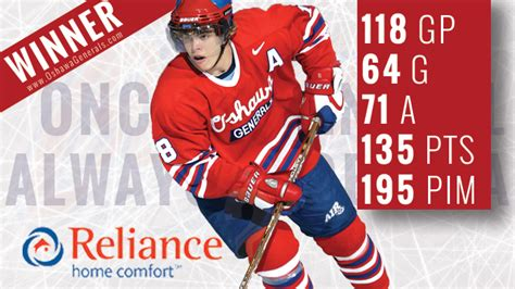 reliance comfort ring of excellence winner oshawa generals