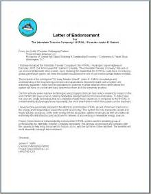 Exle Of Letter Of Endorsement For Award Contents
