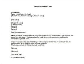 Exle Letter Of Resignation Professional by How To Write A Professional Resignation Letter Free