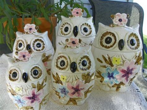 owl kitchen canisters vintage 1960 s 5 napcoware ceramic owl canister set lot from japan ceramics jars and
