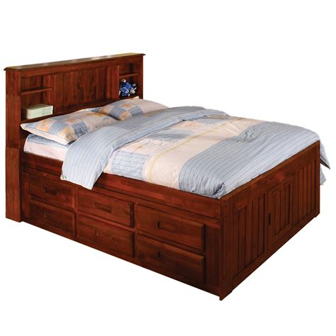 bed with storage drawers merlot bookcase 6 drawer full size bed 14108783