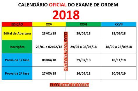 Calendario Oab 2017 Calend 225 Oab 2018 Datas Do Exame De Ordem