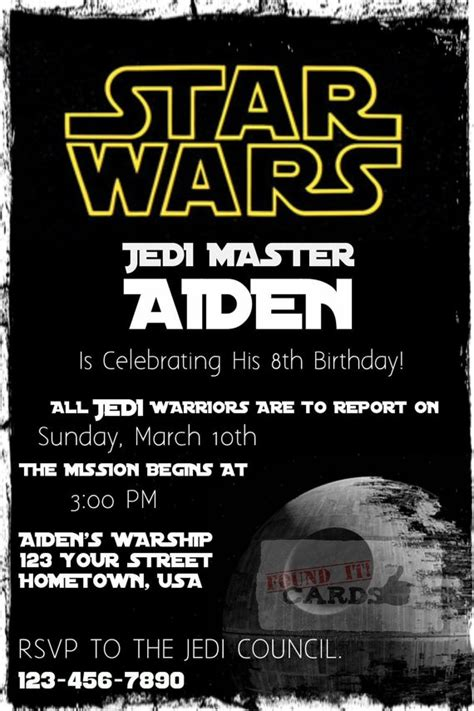 wars birthday invitation template wars birthday invitations pinteres
