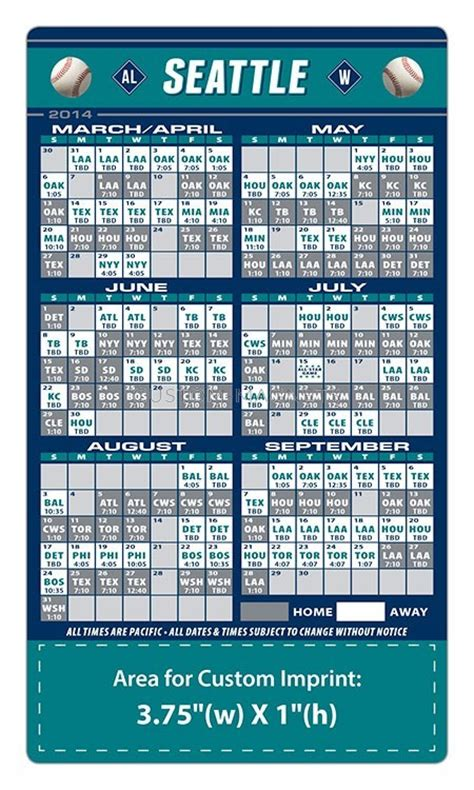 seattle mariners baseball team schedule magnets 4 quot x 7