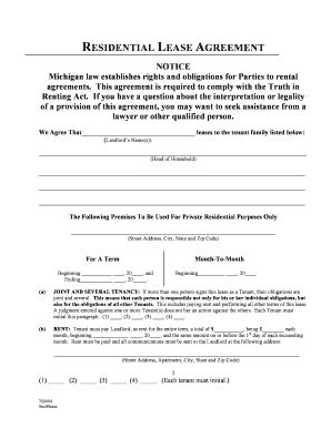 Standard Lease Agreement Michigan Forms And Templates