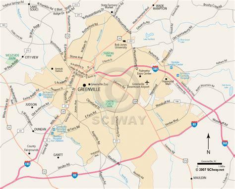 map of greenville carolina greenville south carolina printable map
