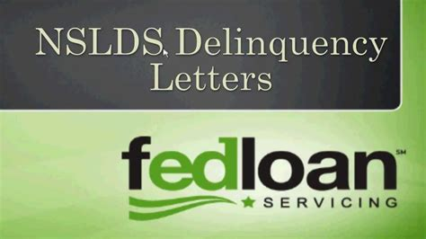 Financial Delinquency Letter Nslds Delinquency Report Tutorial Fedloan Servicing
