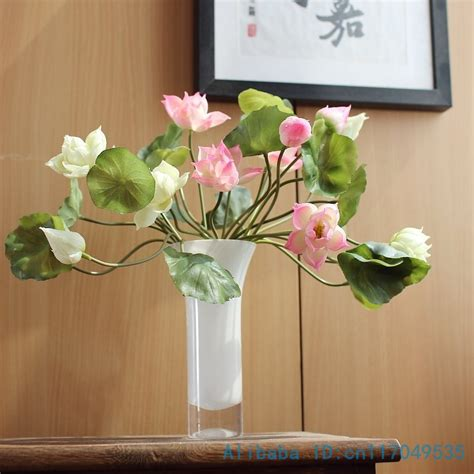 lotus flower touch l 1pcs real touch artificial soft latex small lotus flower
