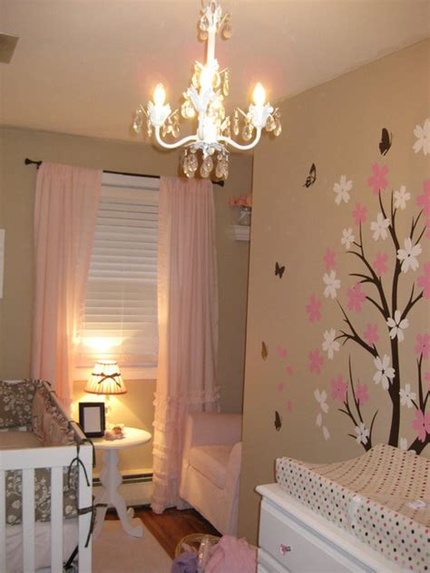 Pink Curtains For Nursery Pink Ruffled Curtains Traditional Nursery Behr Pecan Sandie