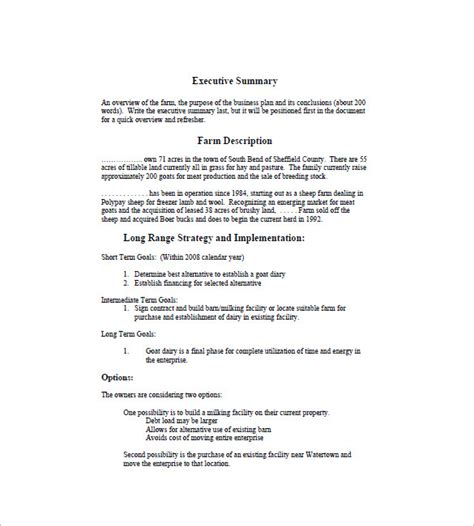 agriculture business plan template farm business plan template 13 free word excel pdf