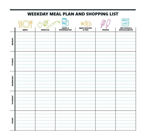 Printable Meal Calendar Template