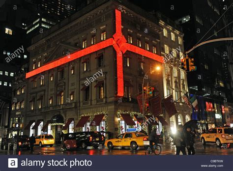 christmas decoration around nyc decoration bow ribbon at the cartier shop in 5th avenue stock photo royalty free