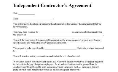 Independent Contractor Agreement Contractor Agreement Contract Contractor Contract Independent Contractor Employment Contract Template