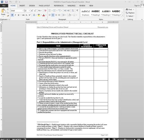 Food Product Recall Checklist Template Mock Recall Template