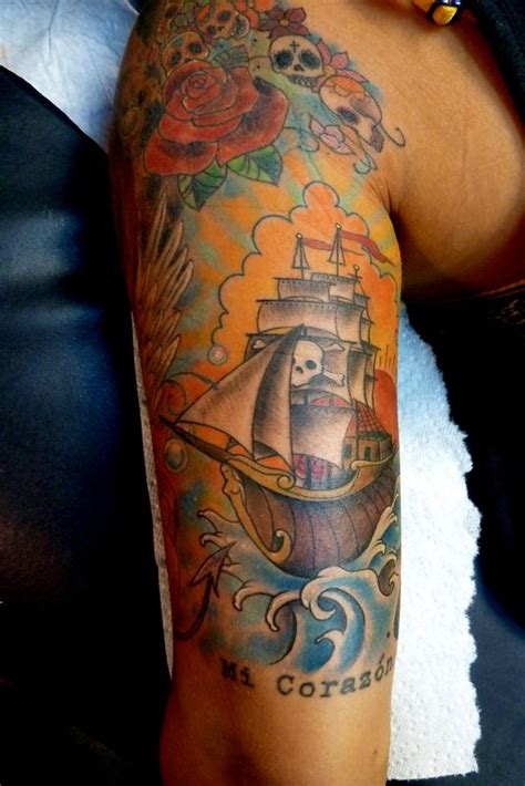 traditional pirate ship tattoo traditional pirate ship by mully tattoonow
