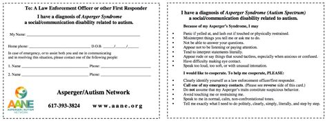 autism wallet card template wallet card the asperger autism network aane