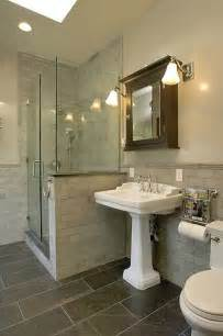 slate tile bathroom designs gorgeous bathroom design with skylight slate tiles floor white pedestal sink espresso stained