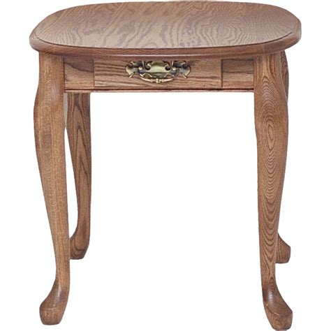 "Solid Oak Queen Anne End Table with Drawer   21"" x 25"