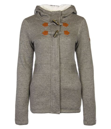 bench womens clothing bench womens chilbe bonded knitted jacket in gray brown
