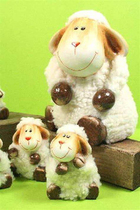 Deko Schafe Mit Fell by Grosse Schaffamilie Mit Fell 9 Schafe Keramik Tier Deko