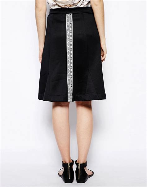 wood wood wood wood flo skirt with border print and flared hem at asos