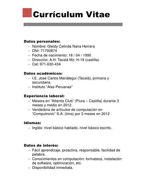 Modelo De Curriculum Vitae Documento Word Vista Previa De Documento Curriculum Vitae Pdf P 225 1 1