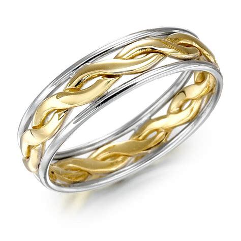 wedding ring gold two tone celtic knot