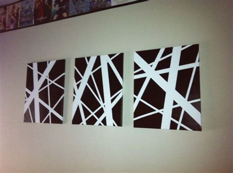 easy diy abstract 3 different sized white canvas then spray paint color of your