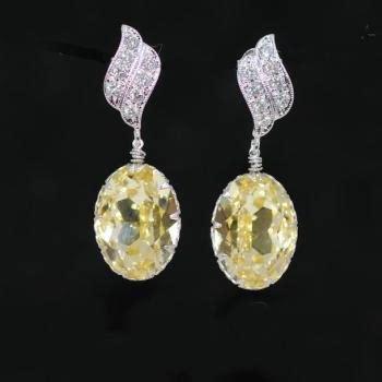 Green Cubic Zirconia 13mm cubic zirconia earrings swarovski jonquil oval earrings