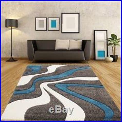 grey blue designer rug carpet modern wave abstract design